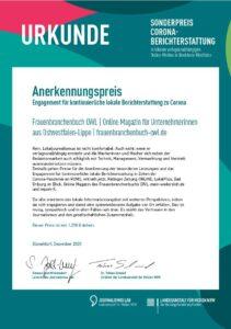 Urkunde Sonderpreis für Corona-Berichterstattung Landesanstalt für Medien NRW